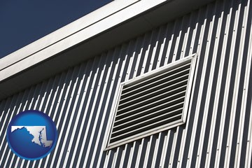 metal-clad building architectural details - with Maryland icon