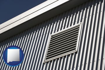 metal-clad building architectural details - with New Mexico icon